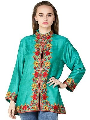 Emerald-Green Jacket from Kashmir with Flowers Embroidered on Neck and Border