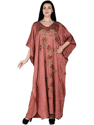 Old-Rose Ari-Embroidered Kaftan from Kashmir with Embellished Stones and Sequins