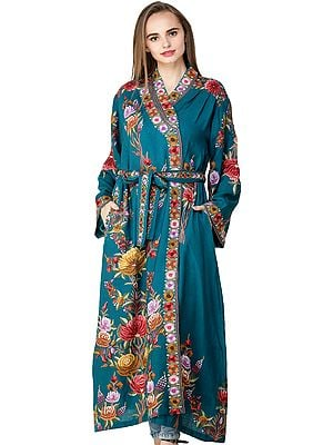 Blue-Coral Kashmiri Robe with Ari Embroidered Flowers by Hand