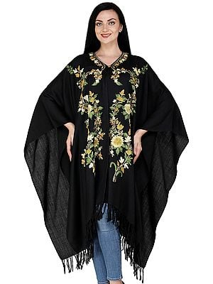 Pirate-Black Cape from Kashmir with Ari Embroidered Flowers