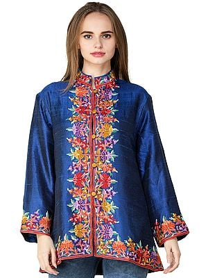 True-Blue Jacket from Kashmir with Florals Embroidered By Hand on Neck and Border