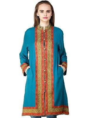 Blue-Jewel Jacket from Kashmir with Floral Ari EmbroiderY By Hand on Neck and Border