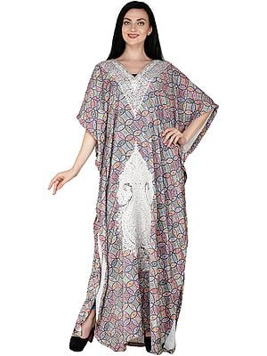 Multicolor Long Printed Kaftan with Zari Embroidered Florals and Paisleys