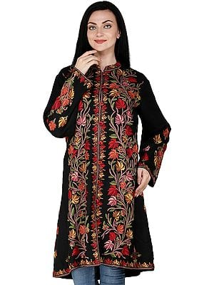 Phantom-Black Jacket from Kashmir with Hand-Embroidered Tree of Life