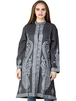 Gray Jacket from Kashmir with Hand-Embroidered Paisleys and Florals