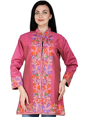 Fandango-Pink Jacket from Amritsar with Ari Embroidered Multicolor Flowers