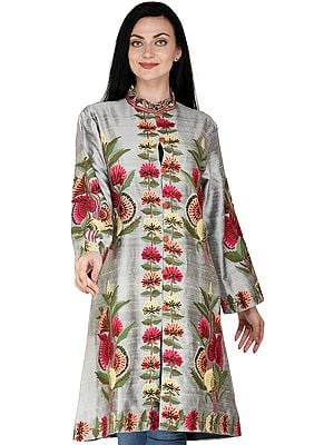 Frost-Gray Long Kashmiri Jacket with Hand-Embroidered Multicolor Flowers