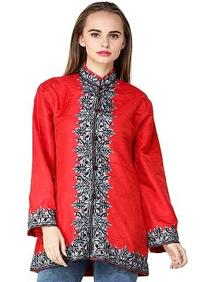 Bittersweet-Red Jacket from Kashmir with Flowers Embroidered on Neck and Border
