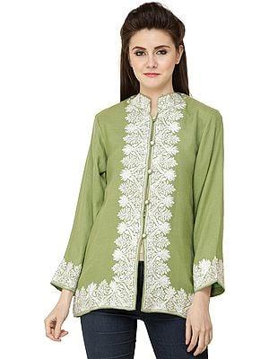English-Ivy Short Kashmiri Jacket with Ari Embroidered White Flowers