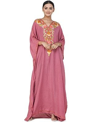 Crushed Kashmiri Kaftan with Ari Embroidered Multicolored Flowers