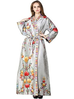 Wild-Dove Kashmiri Robe with Ari Embroidered Flowers