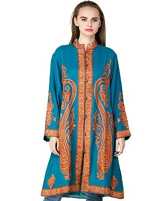 Seaport Long Jacket from Kashmir with Hand-Embroidered Giant Paisleys