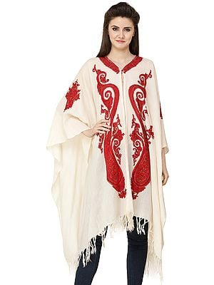 Havelle-Peach Cape from Kashmir with Ari Hand-Embroidered Paisleys and Florals