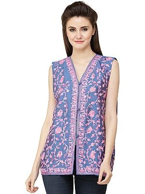 Dutch-Blue Waistcoat from Kashmir with Ari Embroidery in Pink Thread