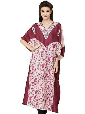 Hawthorn-Rose Double-Shaded Short Kaftan from Kashmir with Ari Embroidery