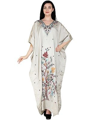 Moonstruck Kaftan from Kashmir with Hand-Embroidered Beads and Sequins