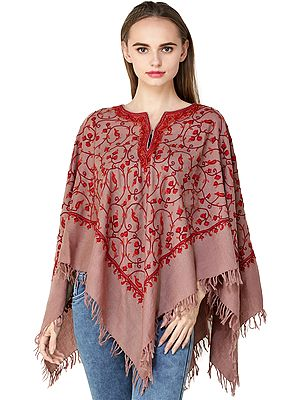 Kashmiri Poncho with Hand-Embroidered Flowers and Paisleys