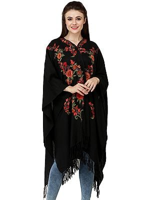 Phantom-Black Cape from Kashmir with Ari Embroidered Multicolor Flowers