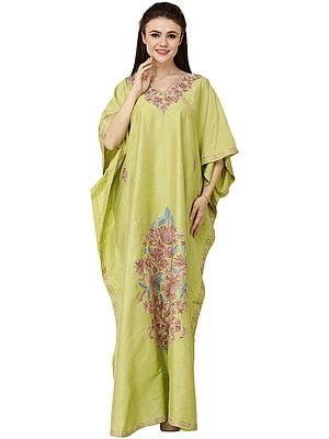Macaw-Green Long Kashmiri Kaftan with Ari Hand-Embroidered Flowers
