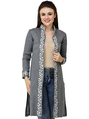 Frost-Gray Short Abaya-style Jacket from Kashmir with Embroidered White Paisleys