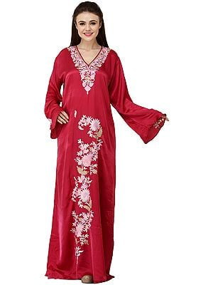 Mauve-Rose Long Gown from Kashmir with Ari Embroidered Flowers