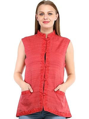Faded-Rose Waistcoat from Kashmir with Ari Embroidery and Front Pockets