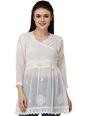 Ivory Lukhnavi Chikan Tunic Top with Embroidered Flowers and Sequins