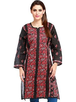 Phantom-Black Kurti with Lukhnavi Chikan Embroidery All-Over