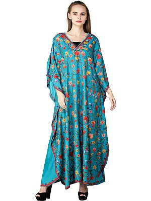 Viridian-Green Kaftan from Kashmir with Ari Embroidered Flowers All-Over