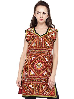 Garnet-Rose Kurti from Kutch with Rabari Hand-Embroidery and Mirrors