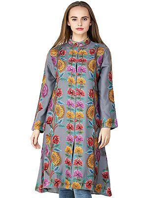 Cloudburst Long Kashmiri Jacket with Hand-Embroidered Multicolor Flowers