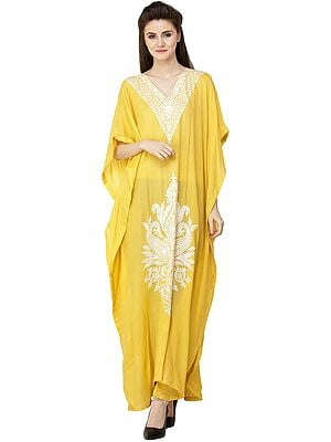 Cashmere Mimosa-Yellow Long Kashmiri Kaftan with Ari Hand-Embroidered Flowers and Paisleys