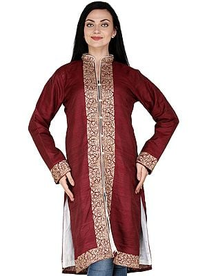 Apple-Butter Long  Jacket from Amritsar with Ari Embroidered Border