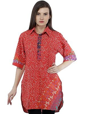 Paprika Summer Tunic Pilkhuwa Shirt with Block Printed Motifs All-Over