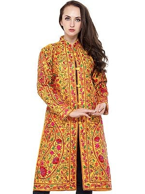 Cadmium-Yellow Long Kashmiri Jacket with Ari-Embroidered Florals and Paisleys