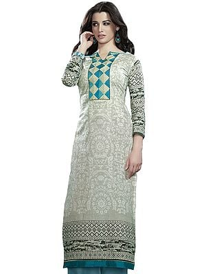 Digital-Printed Long Kurti with Embroidered Patch on Neck