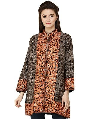 Phantom-Black Jacket from Amritsar with Ari Embroidered Florals and Bootis