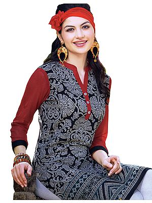 Caviar-Black and Red Printed Long Kurti with Florals All-Over