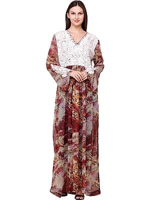 Burnt Russet Digital Printed Long Gown from Srinagar with Embroidery on Neck and Sleeves