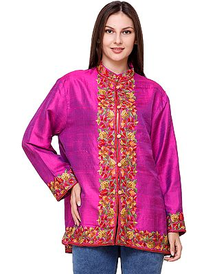 Festival-Fuchsia Short Jacket from Kashmir with Hand-Embroidered Flowers