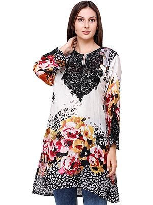Ivory Digital Printed Kurti from Kashmir with Ari-Embroidery on Neck