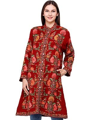 Rosewood Long Jacket from Kashmir with Hand Ari-Embroidered Flowers All-Over