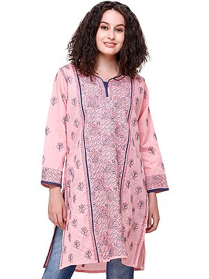 Mellow-Rose Handloom Lukhnavi Kurti with Embroidered Flowers and Paisleys All-Over