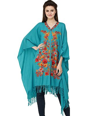 Caribbean-Sea Cape from Kashmir with Ari Hand-Embroidered Flowers