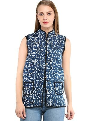 Deep-Water Reversible Waistcoat from Pilkhuwa with Printed English Alphabets