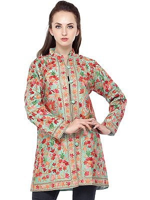 Neptune-Green Jacket from Amritsar with Ari Embroidered Flowers All-Over