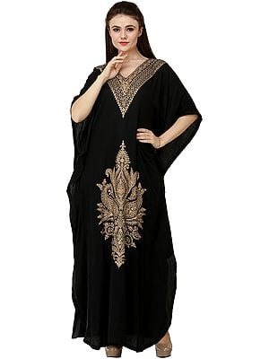 Cashmere Kaftan from Srinagar with Ari-Embroidered Flowers and Paisleys