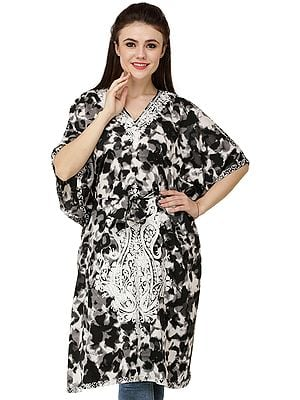 Black and White Batik Printed Kashmiri Kaftan with Embroidered Flowers and Dori at Waist