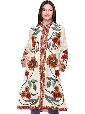 Cream Long Jacket from Kashmir with Hand-Embroidered Giant Flowers