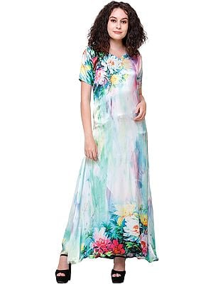 Spa-Blue Digital-Printed Long Gown from Kashmir with Multicolor Flowers
